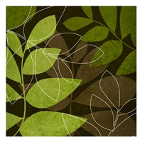 """Green Brown Leaves by Kristin Emery - 13"""" x 13"""", FulcrumGallery.com brand"""