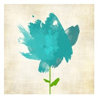 Brush Stroke Flowers Blue Fine Art Print