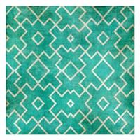 Tan on Teal Pattern Framed Print