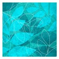Turquoise Leaves 1 Fine Art Print