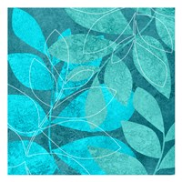 Turquoise Leaves 2 Framed Print
