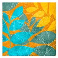 """Aqua Leaves 1 by Kristin Emery - 13"""" x 13"""""""