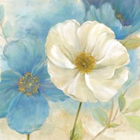 Watercolor Poppies I (Blue/White) Fine Art Print