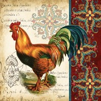 Suzani Rooster II by s - various sizes - $16.99