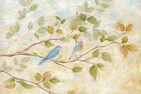 Blue Birds Branch Fine Art Print