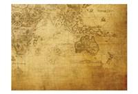 Vintage Map Indian Ocean Framed Print