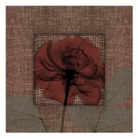"""Burlap Burgundy With Leaves by Albert Koetsier - 13"""" x 13"""""""