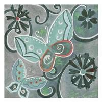 Butterfly Bustle Teal Fine Art Print