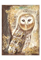 Brown, Cream and Gold Owls 1 Fine Art Print