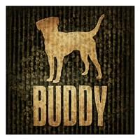 "Buddy (black background) by Jace Grey - 13"" x 13"""