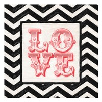 "Chevron Love Red by Taylor Greene - 13"" x 13"", FulcrumGallery.com brand"