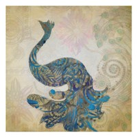 "Elegant Peacock 2 by Taylor Greene - 13"" x 13"", FulcrumGallery.com brand"