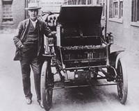 Thomas Edison with his first electric car, the Edison Baker Fine Art Print