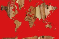 Wood Bark World Map 1 Fine Art Print