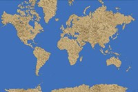World Map - Sand Dots 1 Framed Print