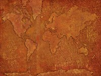 World Map Rust 1 Framed Print
