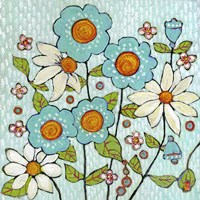 Daisy Blue Flowers Fine Art Print