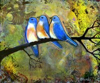 Three Little Bluebirds by Blenda Tyvoll - various sizes