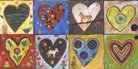 Eight Flat Hearts Fine Art Print