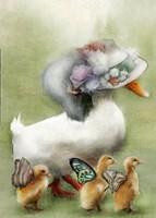 Mom and Baby Ducks Fine Art Print