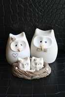Owl Family Taupe Fine Art Print