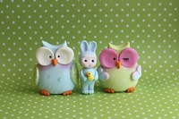 Owls And Tiny Boy Bunny by Sugar High - various sizes