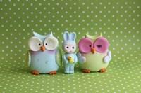 Owls And Tiny Boy Bunny Fine Art Print