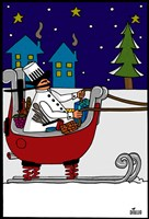 Chef in Sleigh Fine Art Print