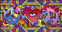 Peace Love Music C Framed Print