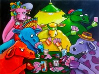 Cows Poker Fine Art Print