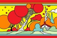 Red Tree Landscape Fine Art Print