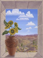Sunflowers in Zia Pot Fine Art Print