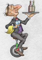 Unicycle Waiter by Bill Abbott - various sizes, FulcrumGallery.com brand