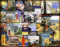 World City Tour Collage by Art Licensing Studio - various sizes