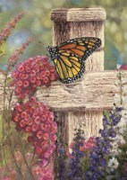 Butterfly and Fence Cross Fine Art Print