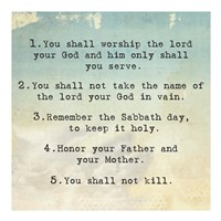 Ten Commandments 1-5 Fine Art Print
