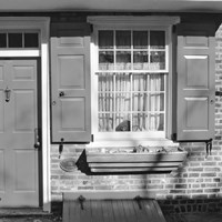 Red Door, Red Shutters (b/w) by Erin Clark - various sizes, FulcrumGallery.com brand