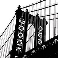 Manhattan Bridge Silhouette (detail) Framed Print