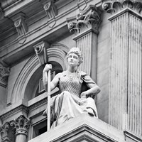 City Hall Sculpture (woman) (b/w) by Erin Clark - various sizes, FulcrumGallery.com brand