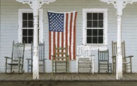 Chair Family With Flag Framed Print