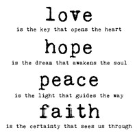 Love Hope Peace Faith 1 by Louise Carey - various sizes