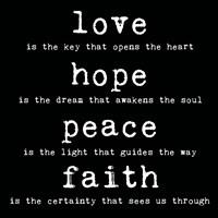 Love Hope Peace Faith 2 by Louise Carey - various sizes
