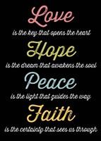 Love Hope Peace Faith 4 by Louise Carey - various sizes
