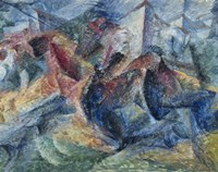 Horse, Horseman and Group of Houses by Umberto Boccioni - various sizes