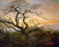 Tree with Ravens and Prehistoric Tumulus on the Baltic Coast Fine Art Print