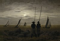 Moonlit Night on the Beach, with Fishermen Fine Art Print
