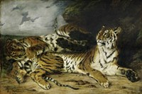 A Young Tiger Playing with its Mother, 1830 by Eugene Delacroix, 1830 - various sizes