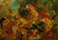 Lion Hunt by Eugene Delacroix - various sizes