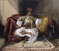Oriental Man Seated on a Divan with a Narghile-1825 by Eugene Delacroix, 1825 - various sizes