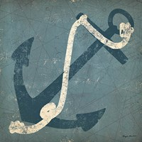 Nautical Anchor Blue Fine Art Print
